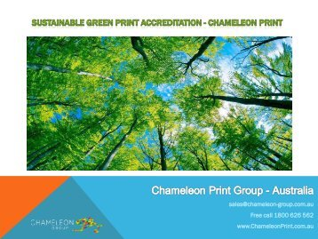 Sustainable Green Print accreditation - Chameleon Print