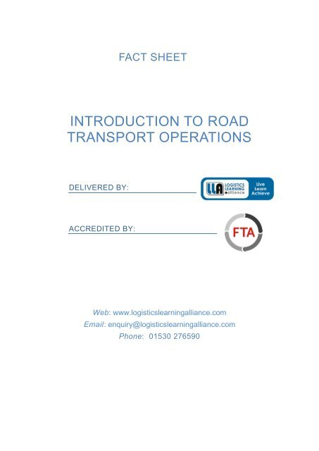 Introduction to Road Transport Operations Fact Sheet