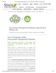 Get Tele Verified Procurement Management Software Customer Lists from Span Global Services
