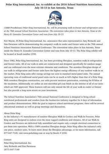 Polar King International, Inc. to exhibit at the 2016 School Nutrition Association, July 10-13 in San Antonio, Texas