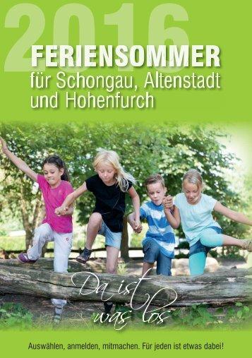 Ferienprogramm 2016 der Stadt Schongau und der Gemeinden Altenstadt und Hohenfurch