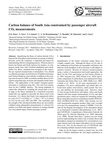 Atmospheric Chemistry and Physics Carbon balance of ... - Caribic
