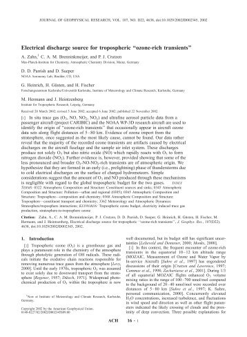 Electrical discharge source for tropospheric ''ozone-rich ... - Caribic