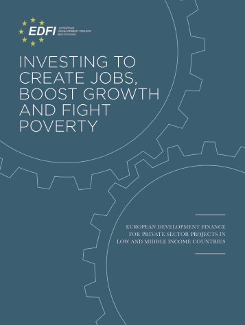 INVESTING TO CREATE JOBS BOOST GROWTH AND FIGHT POVERTY