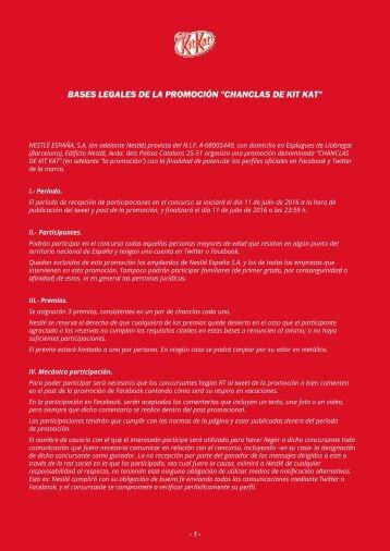 """BASES LEGALES DE LA PROMOCIÓN """"CHANCLAS DE KIT KAT"""""""