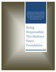 Being Responsible - The Akshaya Patra Foundation