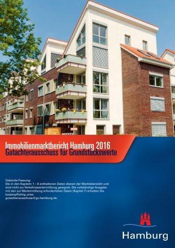 Immobilienmarktbericht Hamburg 2016 Gutachterausschuss für Grundstückswerte