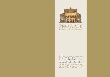 PRO ARTE-Konzerte in der Alten Oper Frankfurt 2016-2017