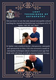 NUMSS Offers - Lost Techniques of Osteopathy