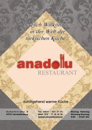 Speisekarte Anadolu Restaurant