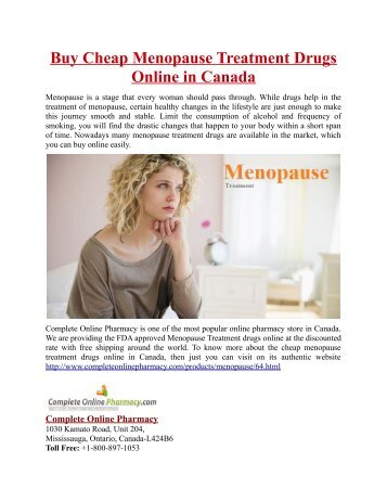 Buy Cheap Menopause Treatment Drugs Online in Canada