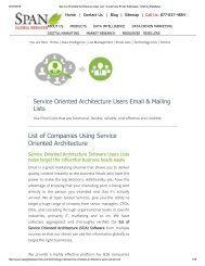 Purchase Accurate List of Service Oriented Architecture Users from Span Global Services