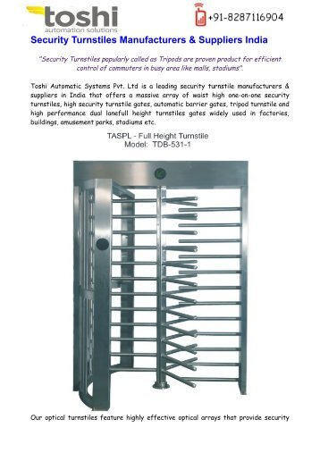 Security Turnstiles Suppliers India