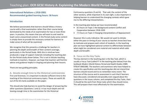 Teaching plan OCR GCSE History A Explaining the Modern World