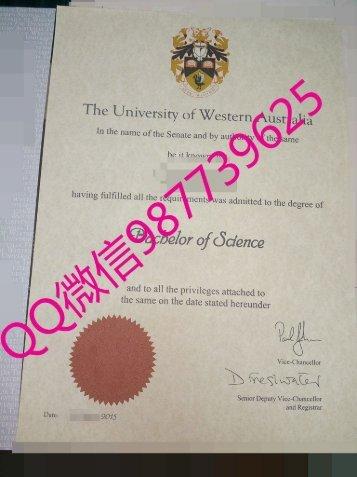 UWA毕业证【QQ微信987739625办澳洲毕业证】西澳大学毕业证