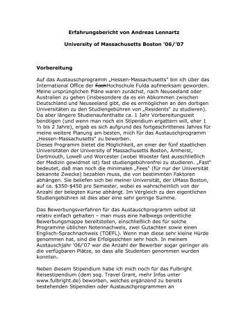 Erfahrungsbericht von Andreas Lennartz University of ...