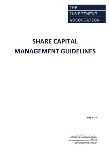 SHARE CAPITAL MANAGEMENT GUIDELINES
