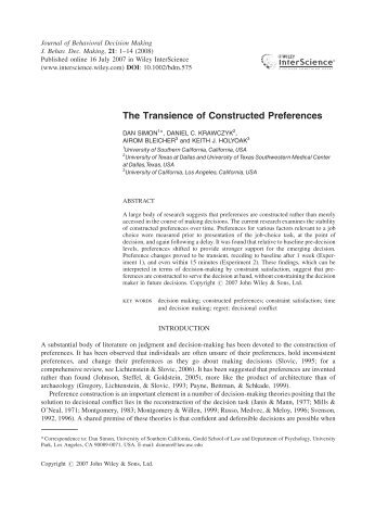 The transience of constructed preferences - UCLA Reasoning Lab