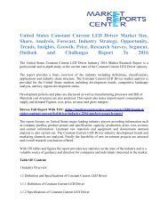United States Constant Current LED Driver Market Trends and Forecast To 2016