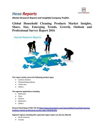 Global Household Cleaning Products Market Insights, Growth and Professional Survey Report 2016: Hexa Reports