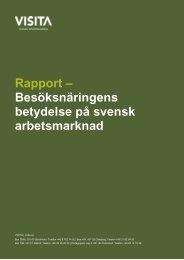 Rapport – Besöksnäringens betydelse på svensk arbetsmarknad