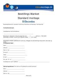 Bestillings Blanket Standard montage - Electrolux