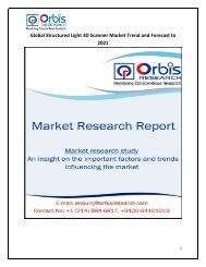 Global Structured Light 3D Scanner Market Trend and Forecast to 2021