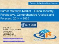 Global Barrier Materials Market Segment Forecasts up to 2020, Research Reports
