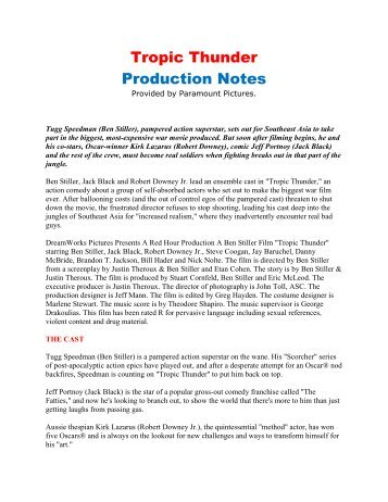 Tropic Thunder Production Notes - VisualHollywood