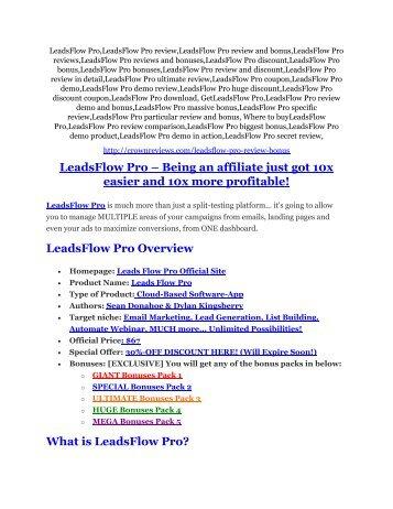 3LeadsFlow Pro review-(MEGA) $23,500 bonus of LeadsFlow Pro