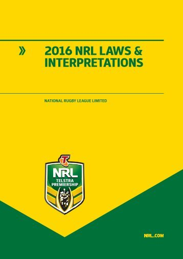 2016 NRL LAWS & INTERPRETATIONS