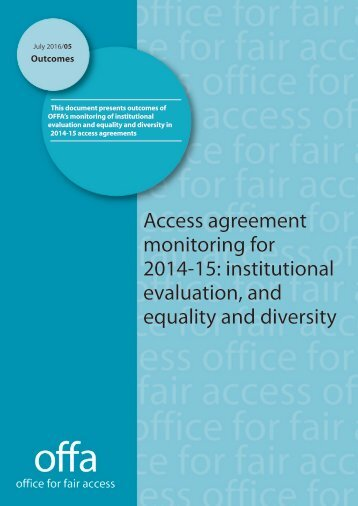 2016-05-Access-agreement-monitoring-for-2014-15-institutional-evaluation-and-equality-and-diversity