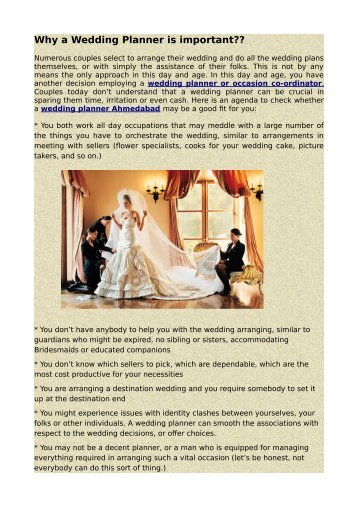 Why a Wedding Planner is important??