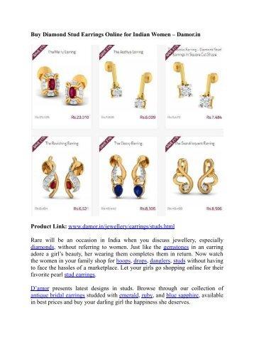 Buy Diamond Stud Earrings Online for Indian Women – Damor.in