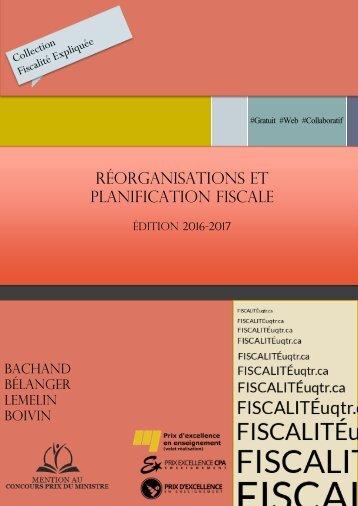RÉORGANISATIONS ET PLANIFICATION FISCALE