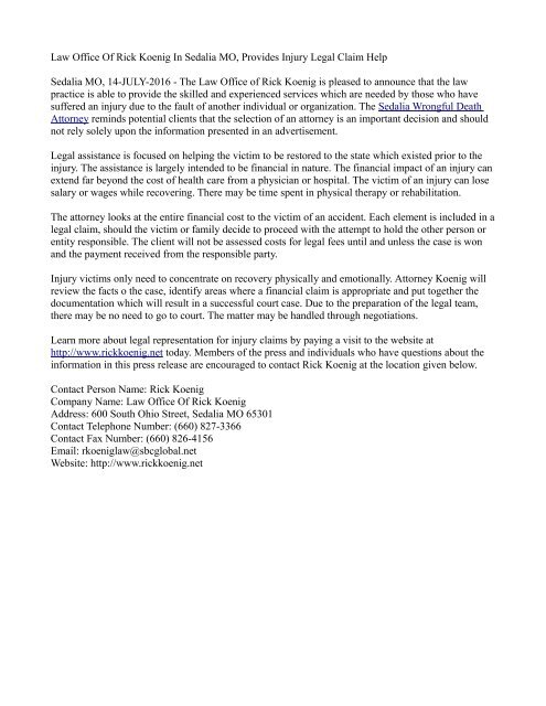Law Office Of Rick Koenig In Sedalia MO, Provides Injury Legal Claim Help