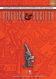 Bioetica & Società Anno XIII - N. 2/3