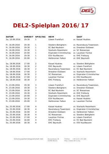 DEL2-Spielplan 2016/17