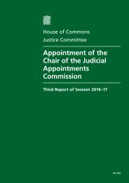 Appointment of the Chair of the Judicial Appointments Commission