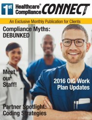 First Healthcare Compliance CONNECT- July 2016