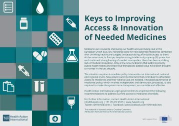 Keys to Improving Access & Innovation of Needed Medicines