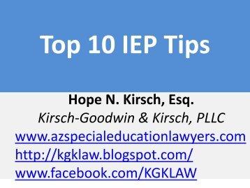 Top 10 IEP Tips