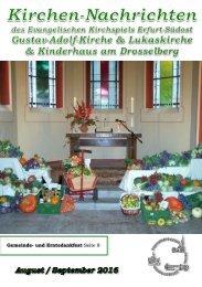 Kirchen-Nachrichten August September 2016 evangelische Kirche Erfurt Südost