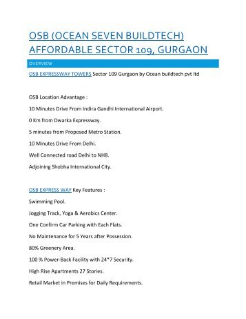 OSB EXPRESSWAY TOWERS AFFORDABLE GURGAON @9650771333