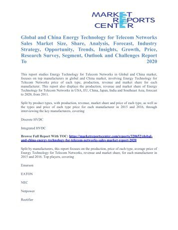 Energy Technology for Telecom Networks Sales Market Price Trends, Competitive Market Share & Forecast To 2020