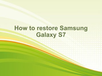 How to restore Samsung Galaxy S7