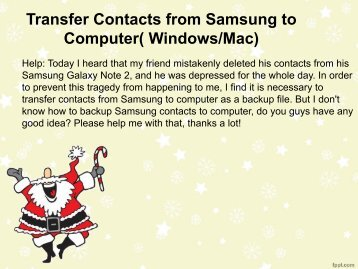 How to transfer contacts from samsung to pc?