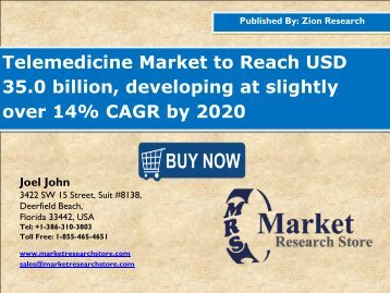 Global Telemedicine Market Set for Rapid Growth, To Reach USD Around 35.0 Billion by 2020