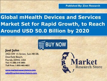 mHealth Devices and Services Market to Reach USD 50.0 billion, developing at slightly over  35% CAGR by 2020