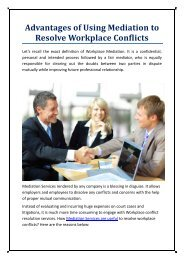 Advantages of using mediation to resolve workplace conflicts